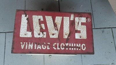 Seltenes altes Levis Vintage Clothing Reklame Schild Retro Boutique Laden Deko