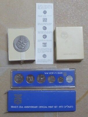 ISRAEL 1973  -  MEDAL & COIN SET - 25th  ANNIVERSARY OF STATE ISRAEL - VERY RARE