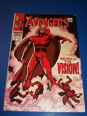 Avengers #57 Silver Age 1st Vision Huge Key Wow Ultron Nice Looking Book Fine-