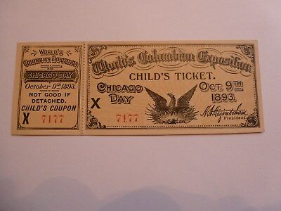 Rare Mint Chicago Day 1893 Columbian Exposition Child's Ticket with Stub