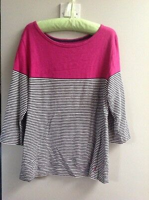 Joules Pink  with navy blue / white Stripe Top Size 18