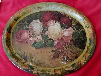 <>Antique Metal Advertising Tray W/roses From Sanger Furniture Store,sanger,ca !