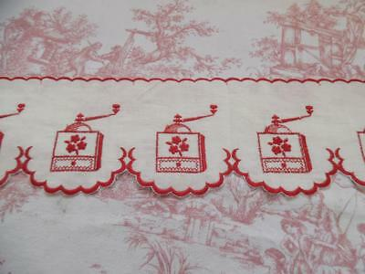 UNUSED VINTAGE FRENCH SHELF RUNNER / EDGING EMBROIDERED COFFEE MILL DESIGN-2m