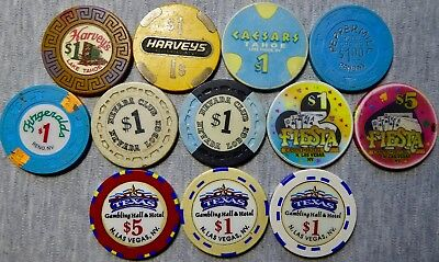 12 Chips - 7 Casinos in Lake Tahoe, Reno and North Las Vegas, NV - Great Variety