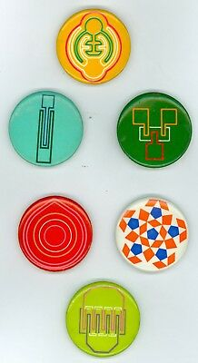 6 Vintage 1960s Industrial Art Advertising Steam Punk Pinback Buttons