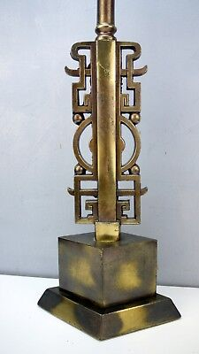 Impressive VTG Bronze Brass HOLLYWOOD REGENCY Chinoiserie GREEK KEY Table Lamp