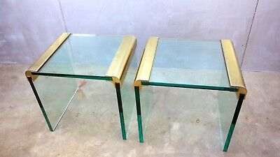 PAIR Mid Century Leon Rosen PACE Collection END TABLES Brass Gilt Glass GLAM