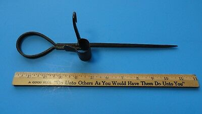 1880's Georgetown,Colorado Miner's Candlestick, Fishtail Design, Heavy Duty Iron