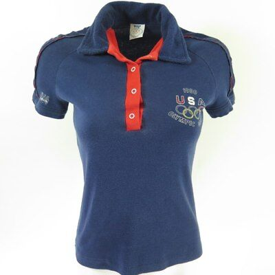 Vintage 1980s USA Olympic Games Levis Polo Shirt Womens Small Levi's Terry Print