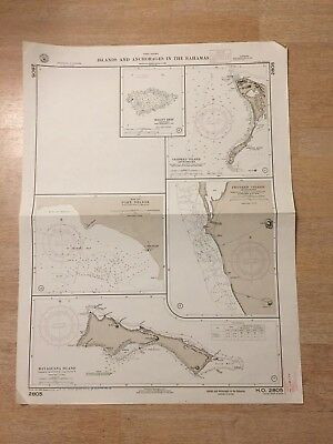 Nautical Chart Islands and Anchorages In The Bahamas West Indies 1925 4538