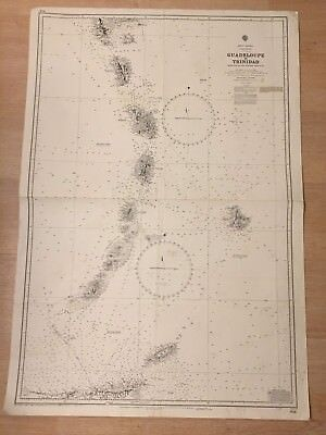 Nautical Chart Guadeloupe To Trinidad West Indies 1886 Maritime vtg Map #4566