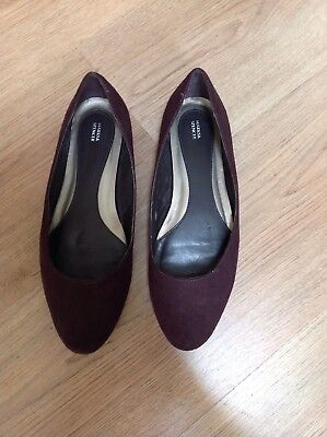 m&s brown suede flat pumps size 6.5