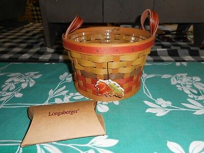 Longaberger Fall Basket With Protector And Leaf Tie On New