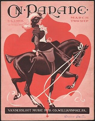 FEMALE HORSE RIDER antique sheet music ON PARADE march two-step AL J. WHYTE 1908