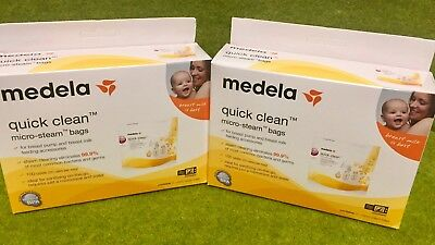 Medela Quick Clean 5 Micro-Steam Bags Microwave Sterilize 2 Boxes 10 Total New