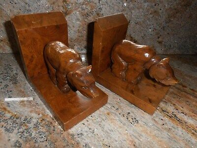 Antique Hand Carved Bear~Bookends~German~Beautiful Wood~Early 1900's~No/res