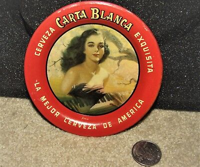 CARTA BLANCA Mexican beer  PRETTY GIRL  1940's tip tray
