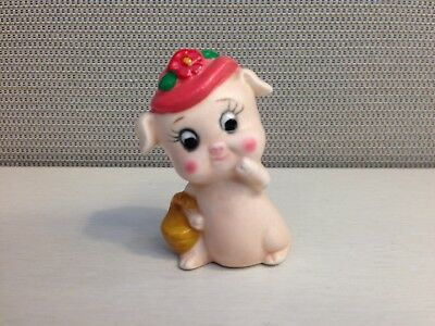 Flower Hat Pig Figurine - Lefton Ceramic Pig Figure