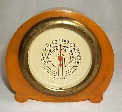 Vintage Butterscotch Bakelite Desk Top Thermometer Made in USA Catalin
