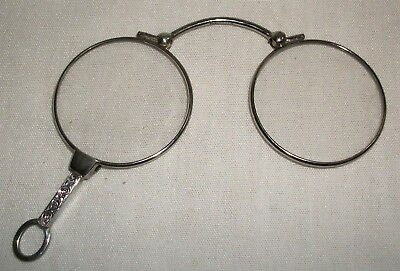 Vintage Sterling Silver Folding Lorgnette Pendant Eyeglasses Spectacles Antique