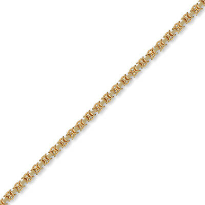 Jewelco London 9ct Gold Flat Byzantine 4.1mm Chain Necklace