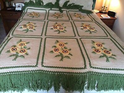 "Vintage Hand Made Floral Sunflower Crocheted Afghan Throw Blanket 76"" x 52"""