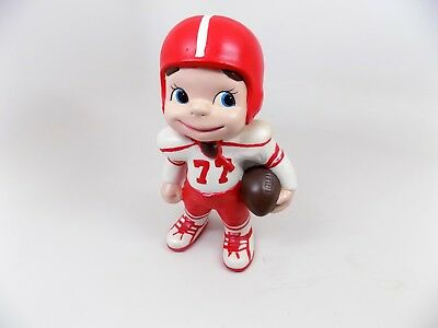 Vintage Hand-Painted Atlantic Mold Ceramic Football Boy #77 (Red & White)