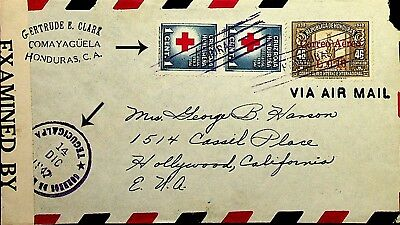 Honduras 1947 Corrreo Aerea 3 Values With Red Cross Pair On Censor Cover To Us.