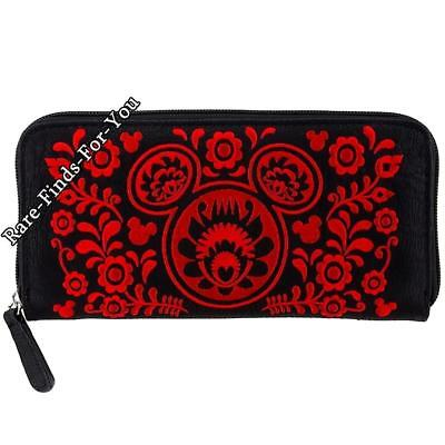 Disney Park Boutique Mickey Mouse Icons with Floral Design Zip-Around Wallet NEW