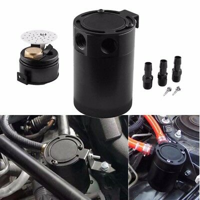 1x Universal Auto Racing Baffled 3-Port Oil Catch Can/Tank/Air-Oil Separator Kit