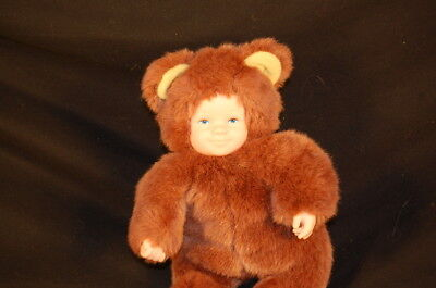 "Anne Geddes Doll Teddy Bear Baby Face Brown Vintage 1997 Plush 9"" Toy Lovey"