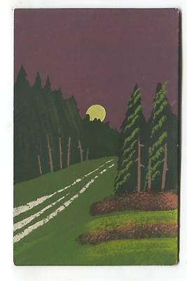 Old hand-painted postcard - woods in moonlight
