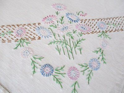 Vintage Tablecloth - Hand Embroidered Flowers  - Linen