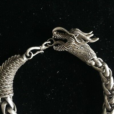Rare Chinese Old Tibet Silver Handwork Dragon Collectible Amulet nice Bracelet
