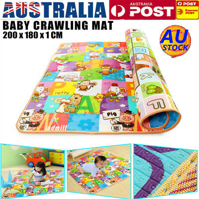 AU 2mx1.8m Baby Kids Play Mat Floor Rug Picnic Alphabet Crawling Carpet Cushion