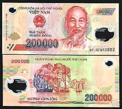 Vietnam 200000 Dong P123 2007 Polymer Hcm Ship Unc Bill World Currency Note