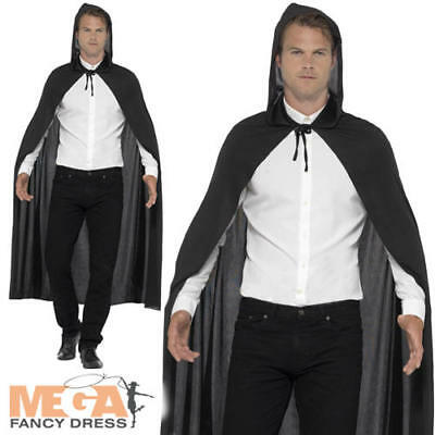 Plain Black Hooded Vampire Cape Adult Mens Ladies Fancy Dress Costume Accessory