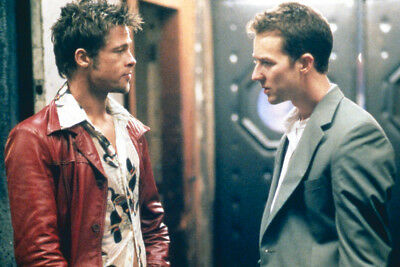 Fight Club Brad Pitt In Red Leather Jacket Edward Norton Large Poster