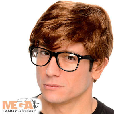 2pc set Brown Wig and Glasses 60/'s Swinging Mens Austin Powers Groovy Costume