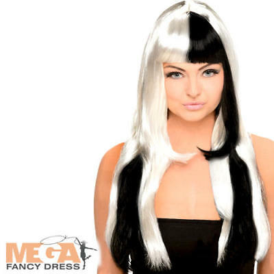 Black & White Wig Ladies Halloween Fancy Dress 60s 70s Adults Costume Accessory