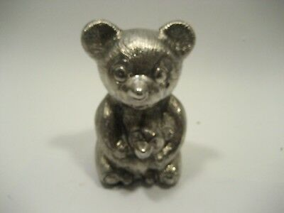 Silver plated  Teddy Bear Holding Teddy Bear Bank   Tarnished