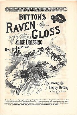 Old Button's Raven Gloss Shoe Dressing Ad Happy Dream