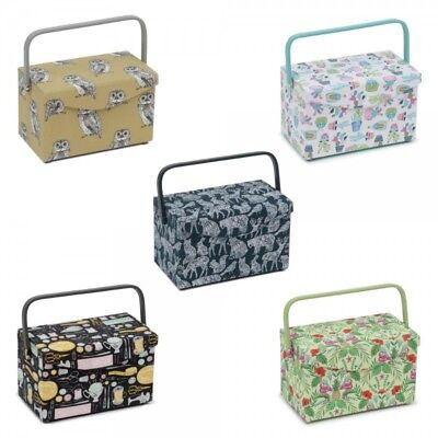 Sewing Box Fold Over Lid Rectangle Sewing Basket Storage Craft Cactus Tropical