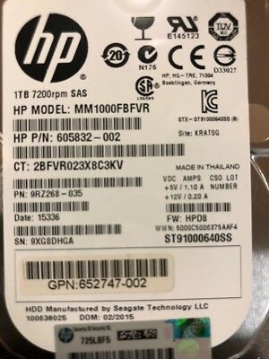 652749-B21 HP 653954-001 1TB 6G SAS 7.2K 2.5in SC MDL HDD FOR G8 G9