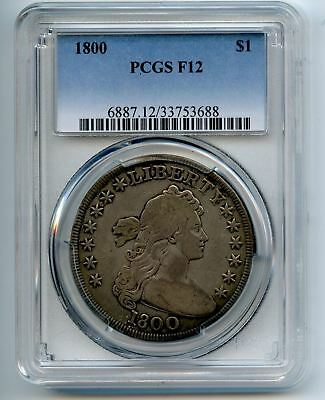 Rare 1800 Pcgs F12 Draped Bust Dollar - Silver $1 - Authentic & Graded
