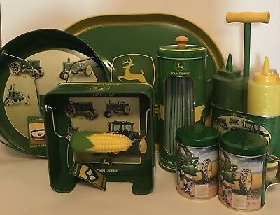 John Deere Metal Picnic Lot Tin Napkin Straw Plate Holder Salt Pepper Tray P1