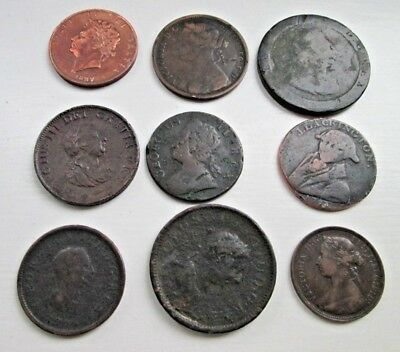 Job Lot Of Georgian And Victorian Half Penny And Penny Very Old