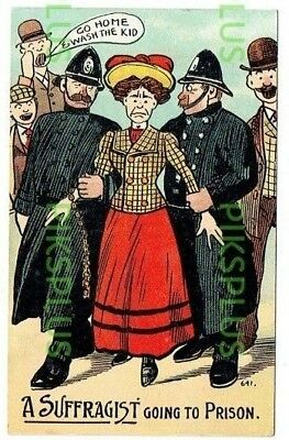"""Comic Suffragette Postcard """" Going To Prison """" National Series Vintage Used 1906"""