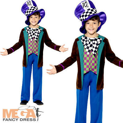 Deluxe Mad Hatter Kids Fancy Dress Boys Childs Childrens Book Character Costume