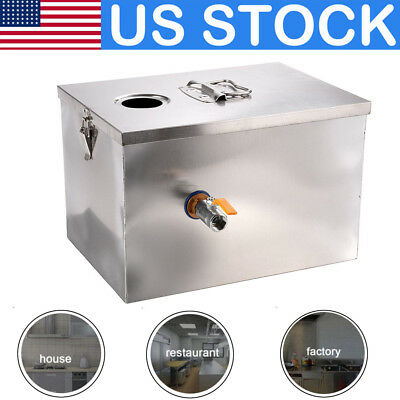 US Stock Commercial 8LB 5GPM Gallon Grease Trap 201 Stainless Steel Interceptor